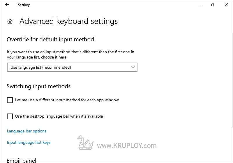 คลิกข้อความ Input language hot keys