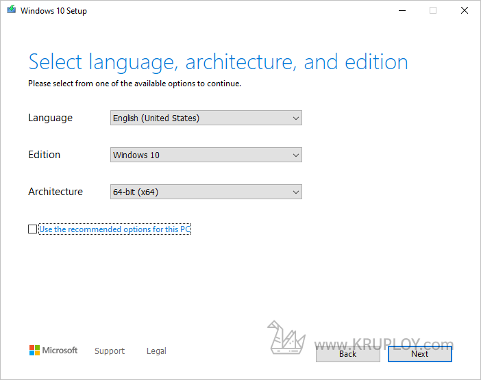 เลือกประเภทของ Windows 10 ที่ต้องการ