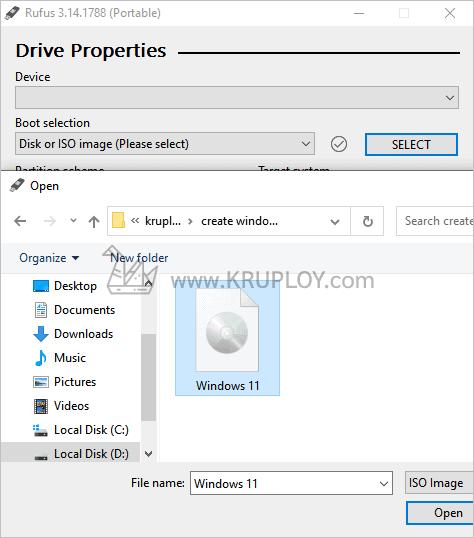 เลือกไฟล์ Windows 11 ISO