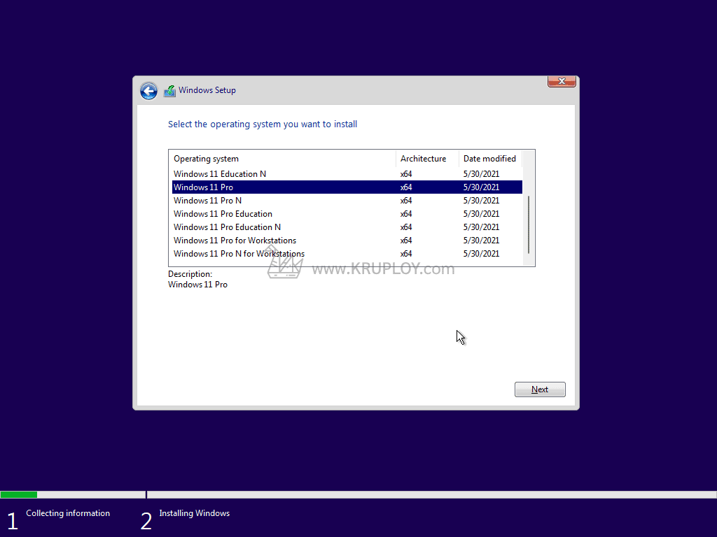 เลือกประเภท Windows 11