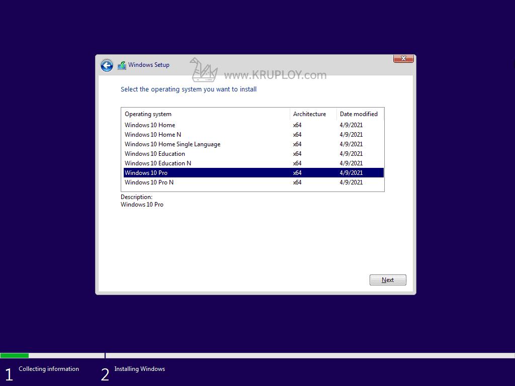 เลือก Windows 10