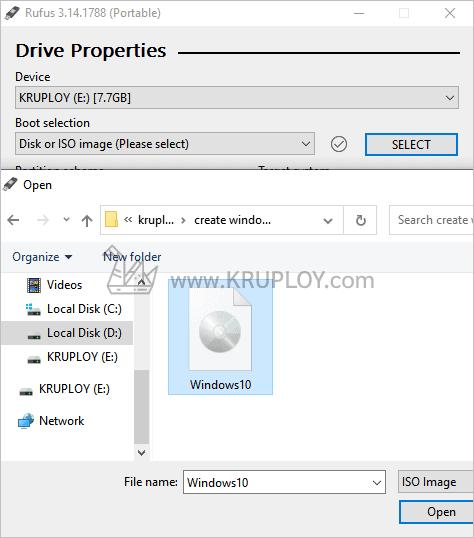 เลือกไฟล์ ISO Windows 10