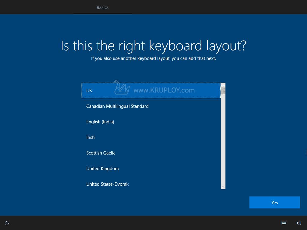 เลือก Keyboard US