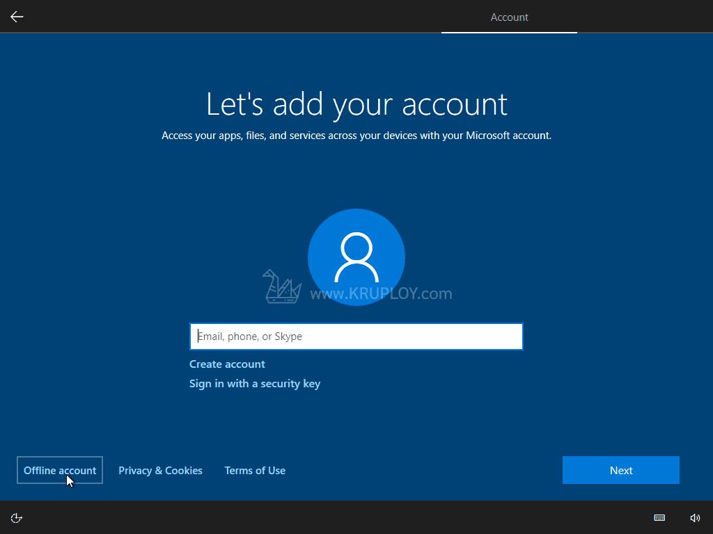 เลือกใช้บัญชีแบบ Offline