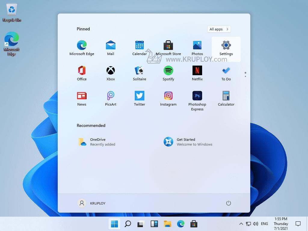 คลิกเมนู Settings ของ Windows 11