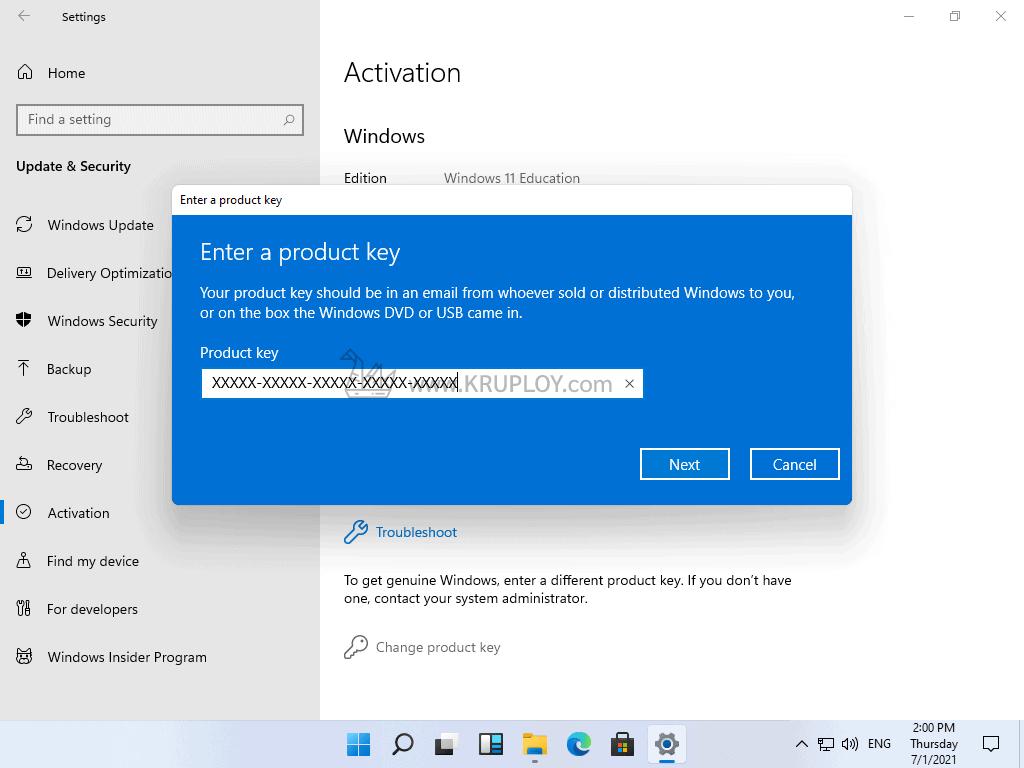 กรอก Product Key Windows 11 ลงไป