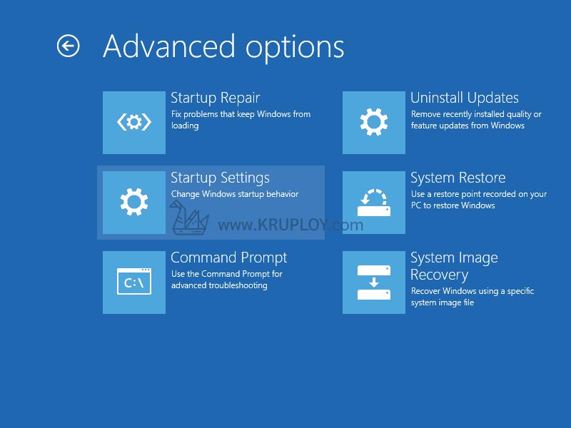 เลือก Startup Settings