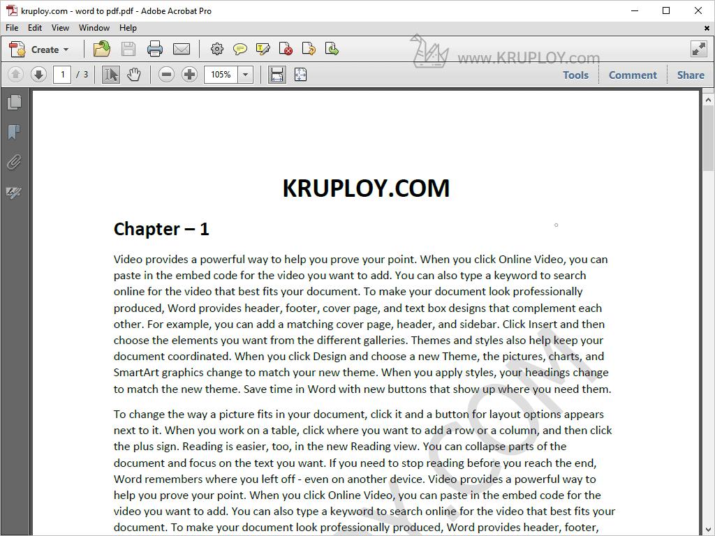แปลงไฟล์ word to pdf เสร็จเรียบร้อย