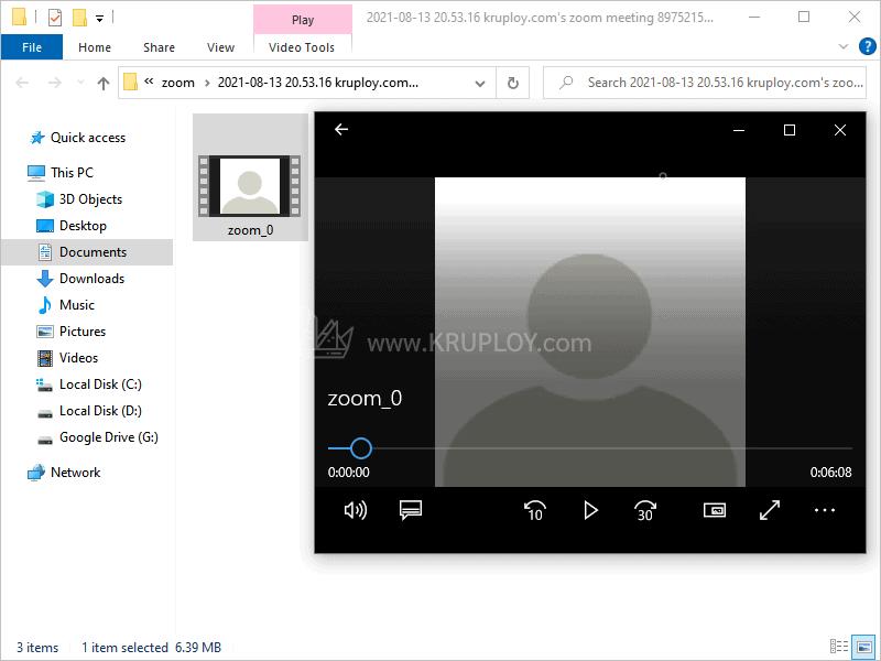 ได้ไฟล์จากการอัดวิดีโอ zoom แล้ว