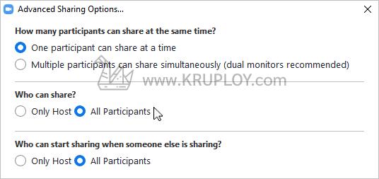 กำหนดให้ทุกคน Share screen ได้