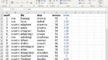 ตัดเกรดด้วย Excel